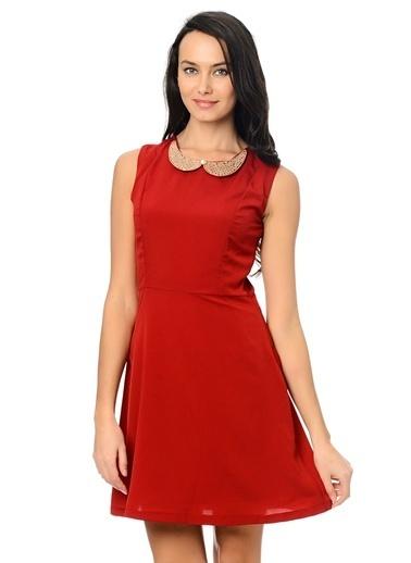 Limon Company Kolye Detaylı Diz Üstü Kadın Elbise Kırmızı